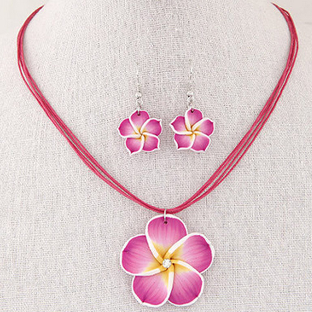 Jewelry-Sets Pendant Earrings Necklace Plumeria-Flowers Polymer Gift Hawaii Clay Trendy