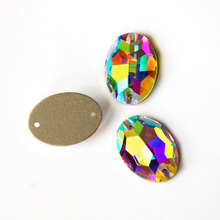 Crystal AB 3210 Oval Glass Rhinestones Sew On Stone Strass Diamond Buckle For Garment Clothes Decorating
