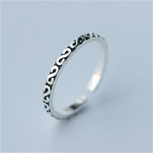 100% Real Pure 925 Sterling Silver Ring Retro Style Simple Open Rings For Women Fine Ring Thin Finger Rings Jewelry