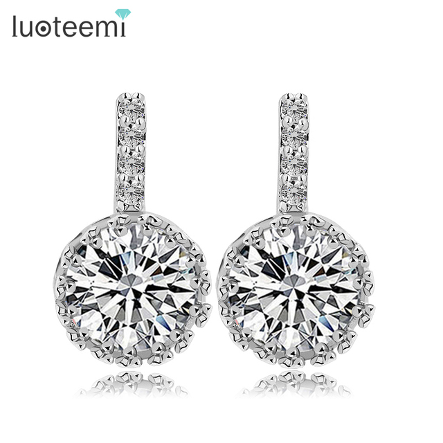 8a9e85a0850f LUOTEEMI Fashion Round White AAA+ Clear Cubic zirconia Women Stud Earrings  for Luxury High Quality Jewelry Gift Wholesale
