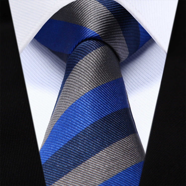 "TZS08A6 Blue Gray Stripe Slim Narrow 2.6"" 100% Natural Silk Men Tie Necktie"