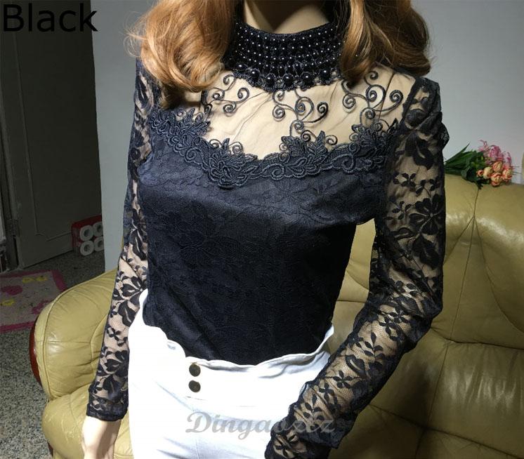 HTB1ucanRpXXXXX0XXXXq6xXFXXXg - Elegant long sleeve bodysuit beaded Women lace blouse shirts