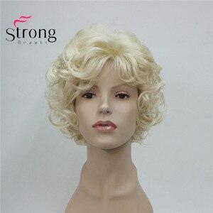 Image 5 - StrongBeauty Korte Zachte Shaggy Gelaagde Leuke Blonde Krullend Golvend Korte Synthetische vrouwen dagelijks volledige Pruik