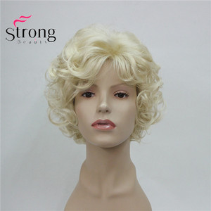 Image 5 - StrongBeauty Short Soft Shaggy Layered Cute Blonde Curly Wavy Short Synthetic Womens daily full Wig
