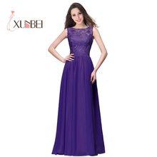 In Stock Robes de demoiselle d'honneur A Line Long Lace Blue Purple Bridesmaid