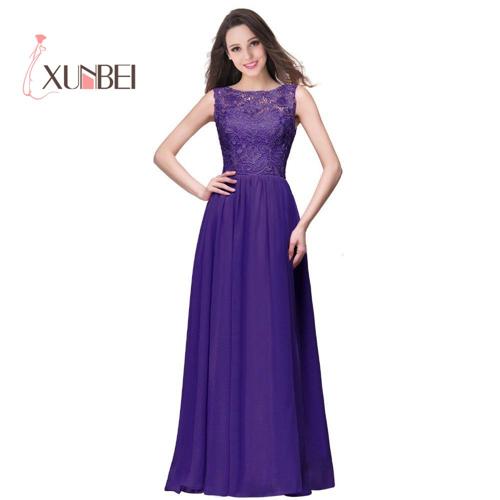 Robes de demoiselle d'honneur A Line Long Lace Blue Purple   Bridesmaid     Dresses   Long 2019 Chiffon Prom Party Gown