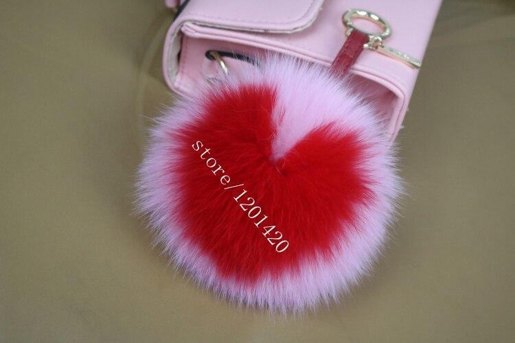 1a0b27ba1c9f Heart Shape keychain Fox Fur Love pom pom key chain Handbags fur ball  keychains Leather Pendant white Heart 5 color 6