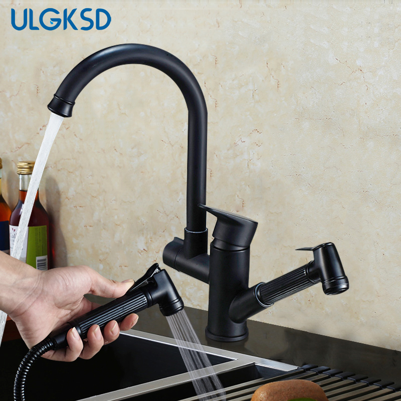ULGKSD Black Brass Kitchen Faucet Pull Out Sprayer Vanity Sink Faucets Hot and Cold Mixer Tap Para Bathroom or Kitchen black brass vanity sink pull out faucet basin mixer hot and cold water for bathroom toilet kitchen