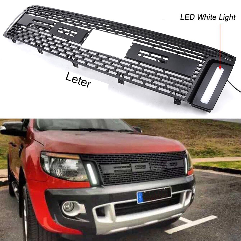 Car Racing Grille For Ford Ranger T6 2011-2013 2014 XLT Grill Emblems Mesh Black Radiator DRL Front Bumper Lower With LED Modify
