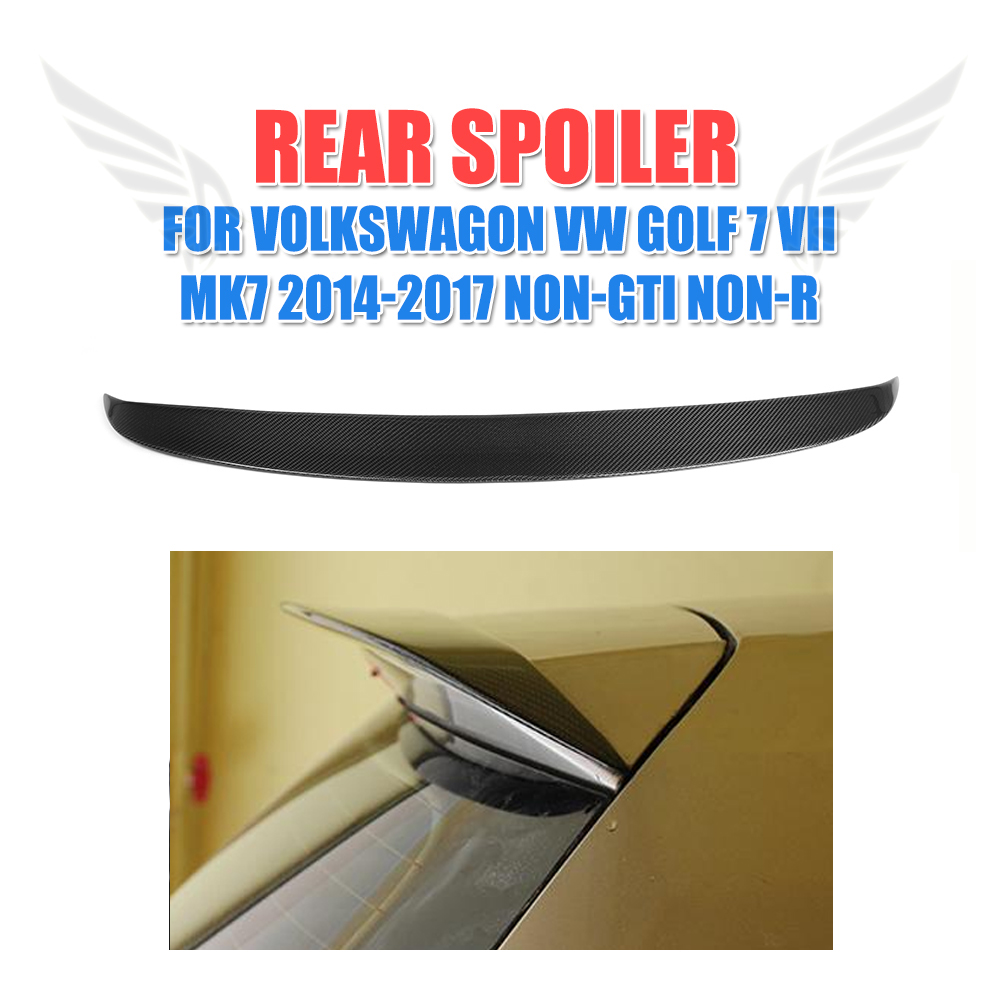Carbon Fiber/FRP Unpainted Rear Roof Lip Spoiler For Volkswagen VW Golf 7 VII MK7 Standard Non-R Non-GTI 14-17 O Style carbon fiber car rear roof spoiler racing tail trunk lip wing for volkswagen vw golf 7 vii mk7 standard 14 17 non gti r