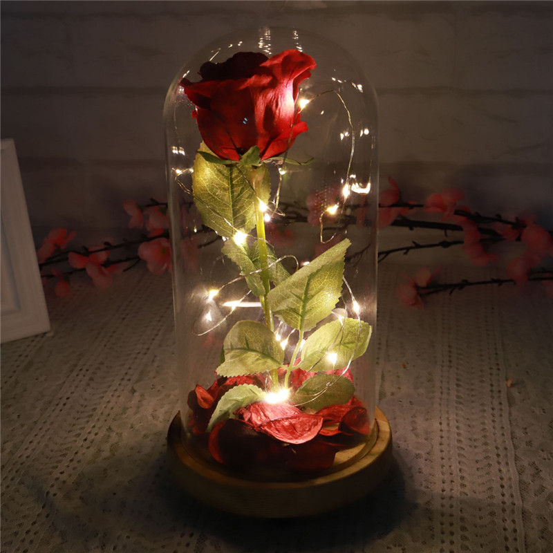Forever Rose In Glass LED Red Flower Preserve Immortal Fresh Rose in Glass Mother's Day LED Light Glass Rose Vase
