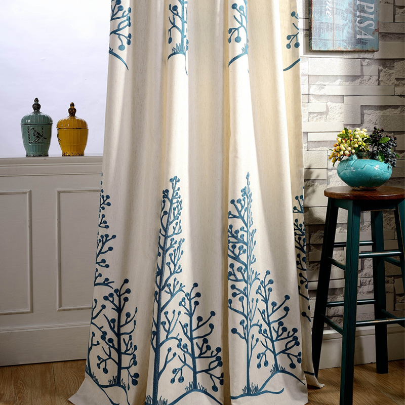 New cotton embroidered linen curtains coral tree for the living room ...