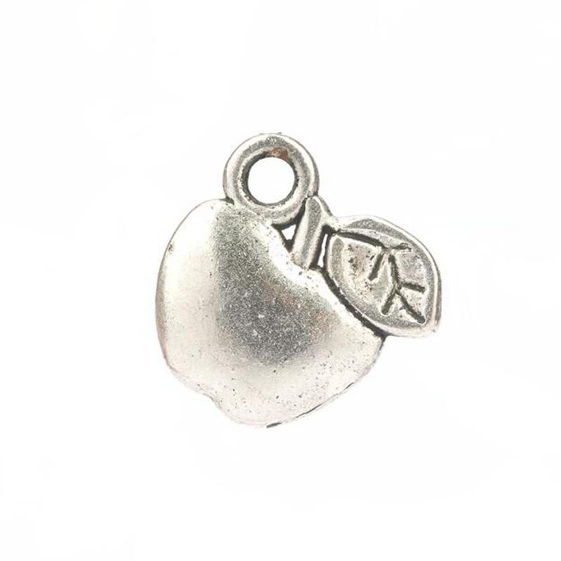 wholesale alloy apple charms pendants 12pcs antique silver