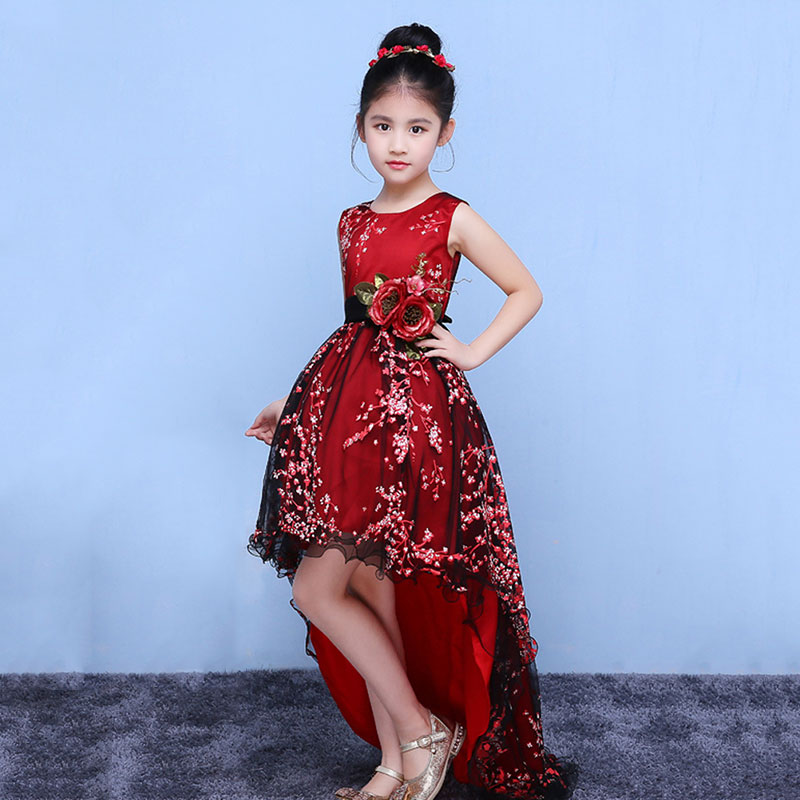 Princess Girls Ball Gown Dress Long Trailing Red Embroidery Floral Girl's Evening dress with Belt Wedding Dress plus size floral embroidery tee dress with pockets