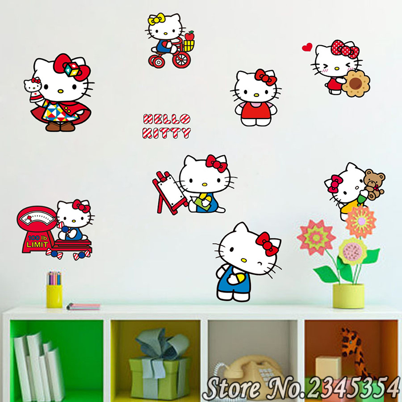 2016 45*60 For Hello Kitty Girls Children Suitcase Stickers Cartoon Bedroom Wall  Mural Wallpaper