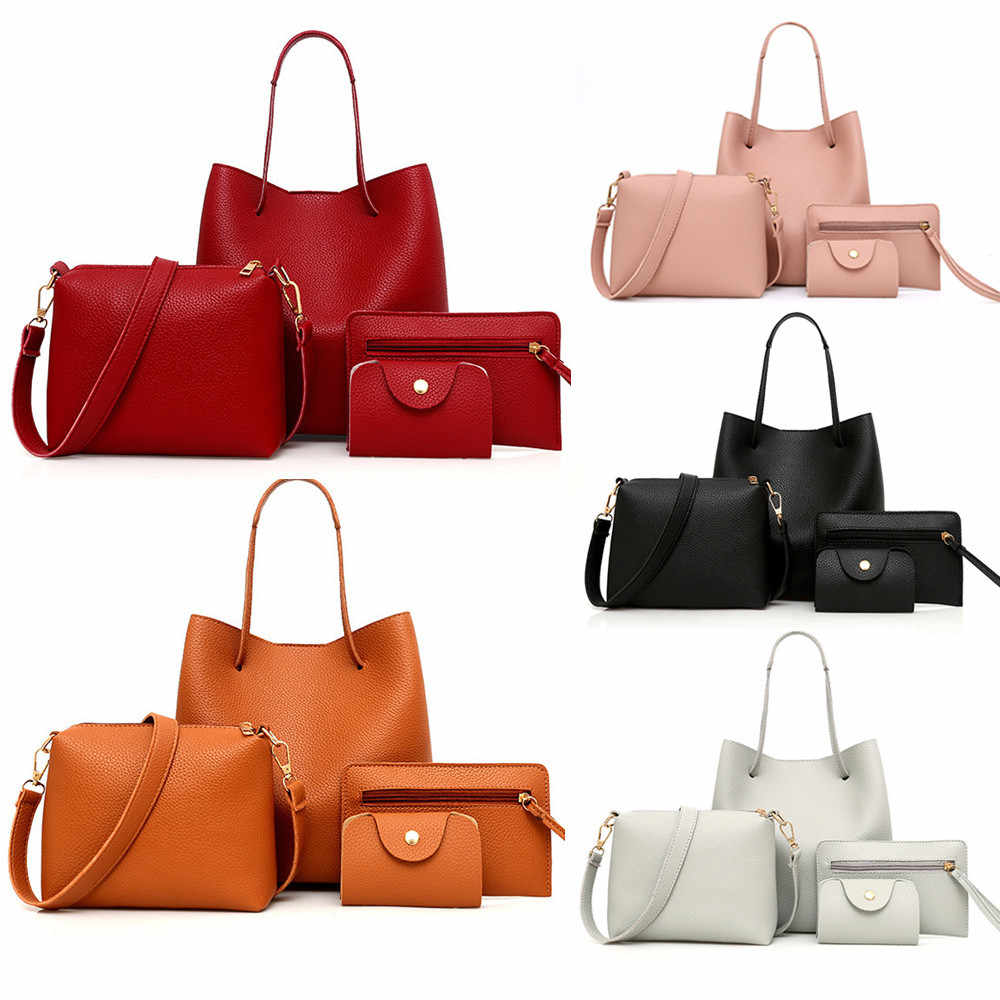 4Pcs Vrouwen Pu Lederen Handtas + Crossbody Tas + Messenger Bag + Card Pakket Effen Rits Dames Handtassen Set portemonnee Bolso Mujer