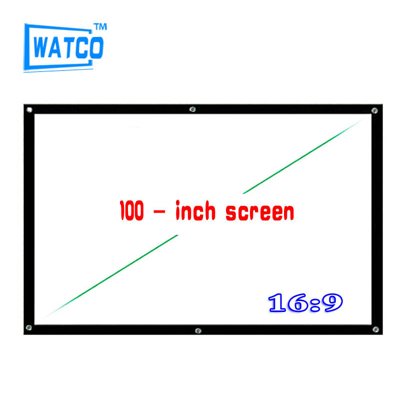 100 inch Simple Projector High definition Screen Portable White Curtain Screen