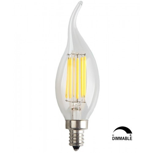 6-Pack 6W Dimmable LED Filament Candle Light Bulb,Cool White 6000K,600LM,E12 Candelabra Base Lamp C35 Bent Tip,60W Incandescent