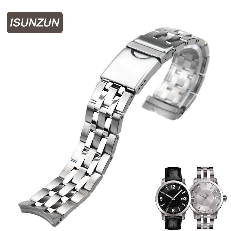 ISUNZUN Top Quality Watch Band For Tissot T055 Stainless Steel Watch Straps for PRC200 T055.417 T055.410 T055.430 Watch Strap tissot t055 417 16 057 00