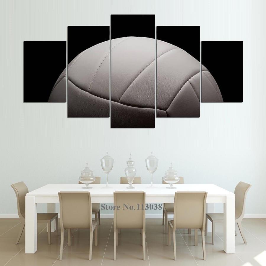 5 Pieces Art Wit Volleybal Schilderij Muur Foto voor Woonkamer ...