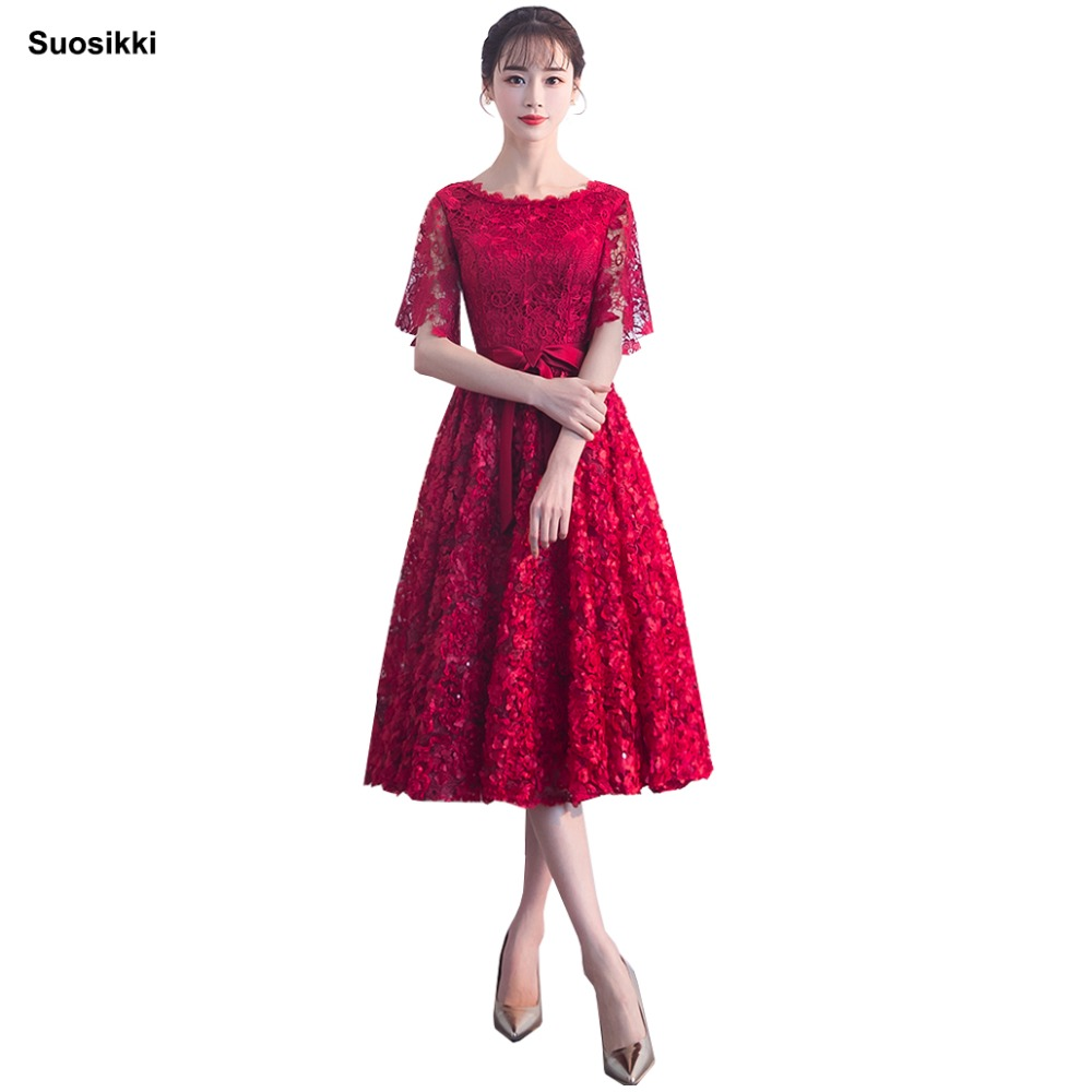 Suosikki New   Evening     Dress   red Color Lace knww-length Long Prom Party Gowns Sexy formal Party Gown