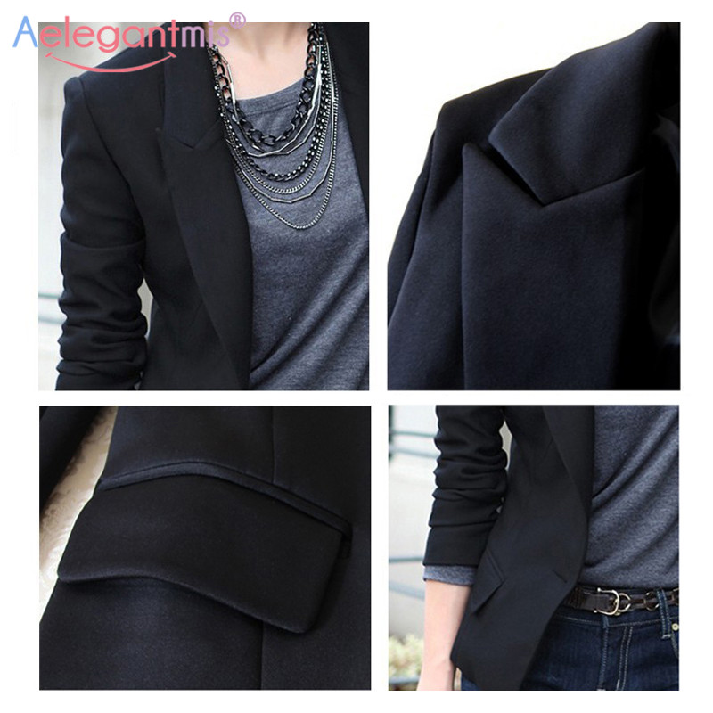 Aelegantmis Autumn Winter Slim Blazers Women Single Button Notched Blazers Black Plus Size Office Lady Work Suit Jacket #5
