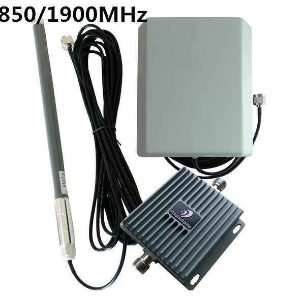 850/1900MHz  65db Gain Dual Band Cell Phone Signal Repeaters Cellular Signal Amplifier GSM Repeater+Antenna Free shipping