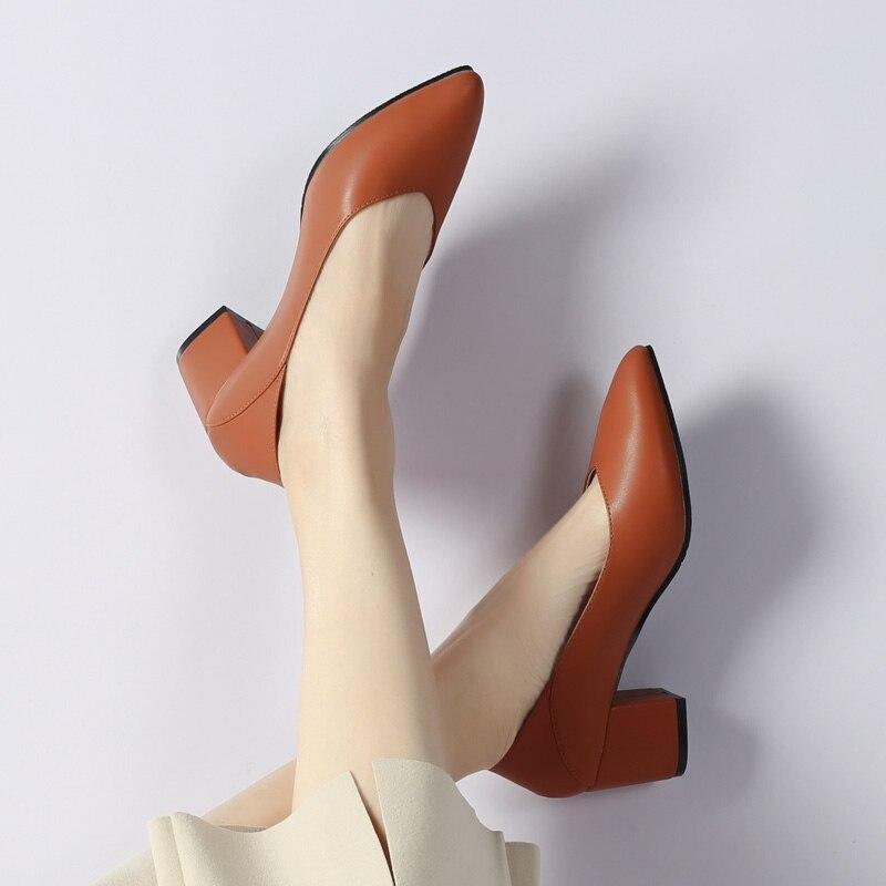 Nude Bombas Señoras Vestido Zapatos Genuino brown 2019 Tamaño Alto Ol Oficina Mujeres Las De black Cuero Mujer Dama Tacón Plus FTw6x
