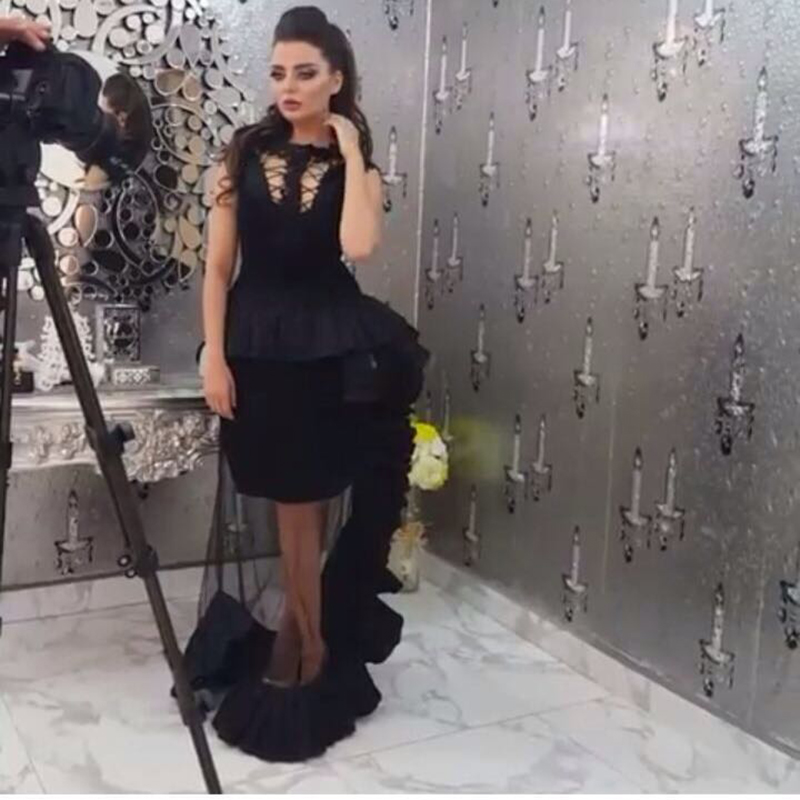 Saudi Arbian Sexy Black Prom Gown Beach O Neck Ruffles Skirt For Evening Gown 2018 Robe De Soiree Mother Of The Bride Dresses