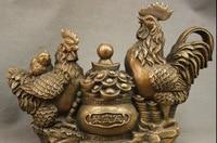 wan671068+++14 Chinese Bronze Copper Bird 3 Coin Cock Statue YuanBao Boel Family Sculpture