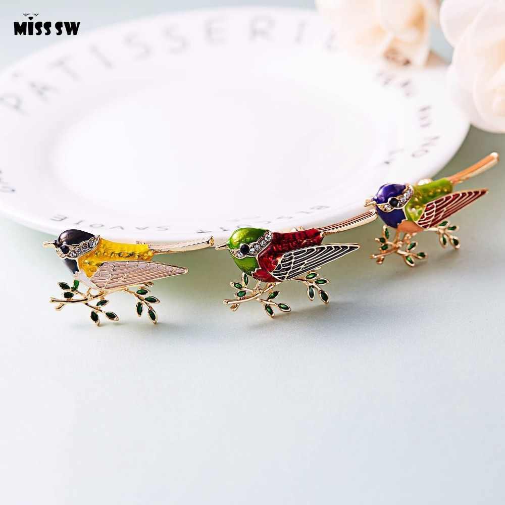 Strass colorido esmalte oriole pássaro ramo broche pinos masculino feminino liga broche de pássaro para ternos vestido banquete broche presente