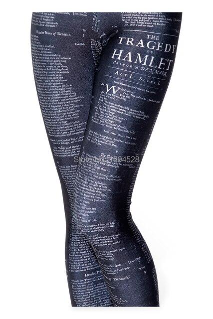 Olso Knitting 3d Print Hamlet Black Leggings Letter Pattern Women