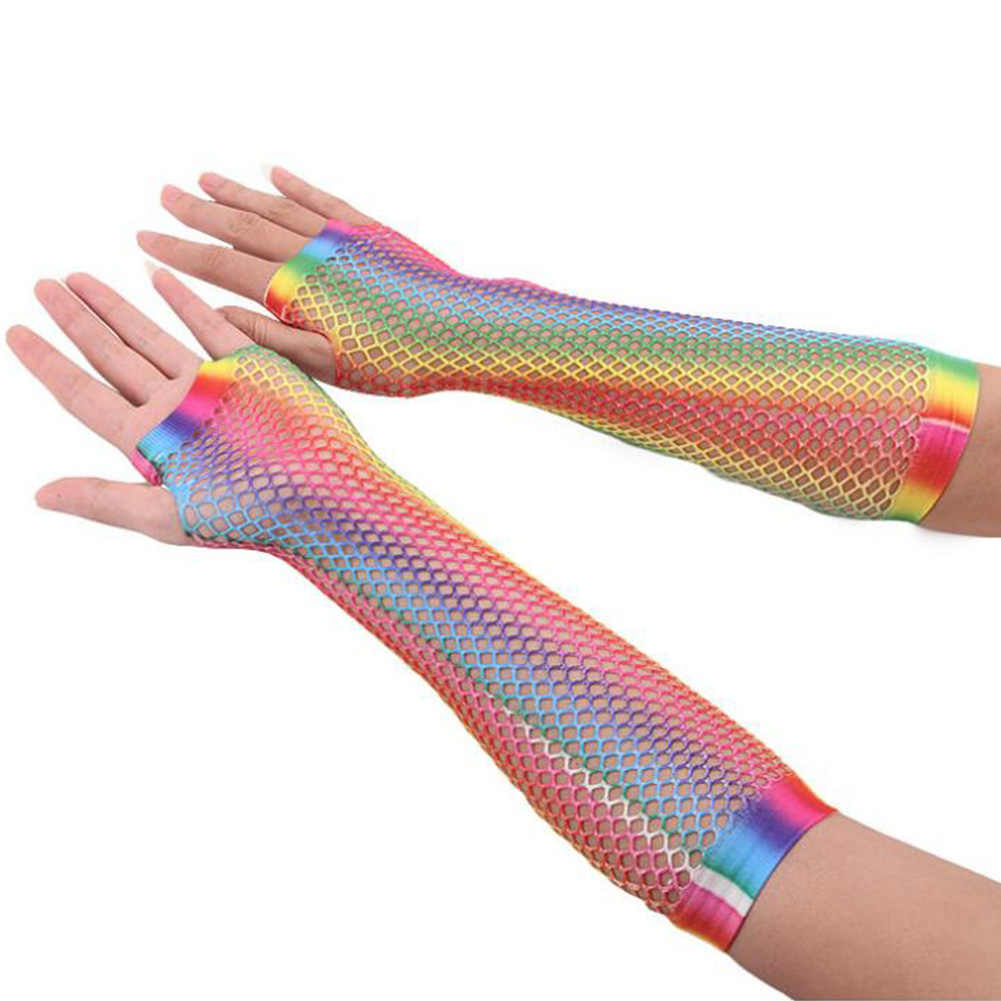 1 זוג גבירותיי סקסי קשת צבע רשת נטו רשת דייגים כפפות קיץ מגניב הולו מתוך ללא אצבעות כפפות מרפק כפפות Guantes Mujer