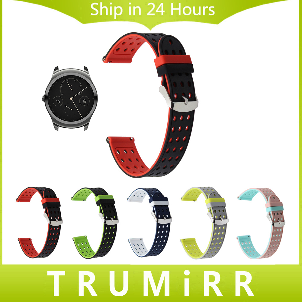 20mm Quick Release Silicone Rubber Watchband for Ticwatch 2 42mm Ticwatch E Withings Ste ...