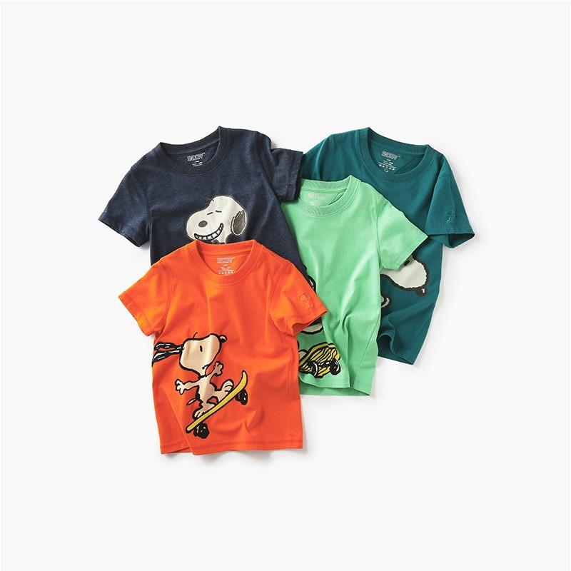 Snoopy Brand Baby Boy Summer Clothes T Shirt Cotton Cute Short Sleeve Cartoon Fashion Sports T-shirt for Boy Sweatshirt 2-7y