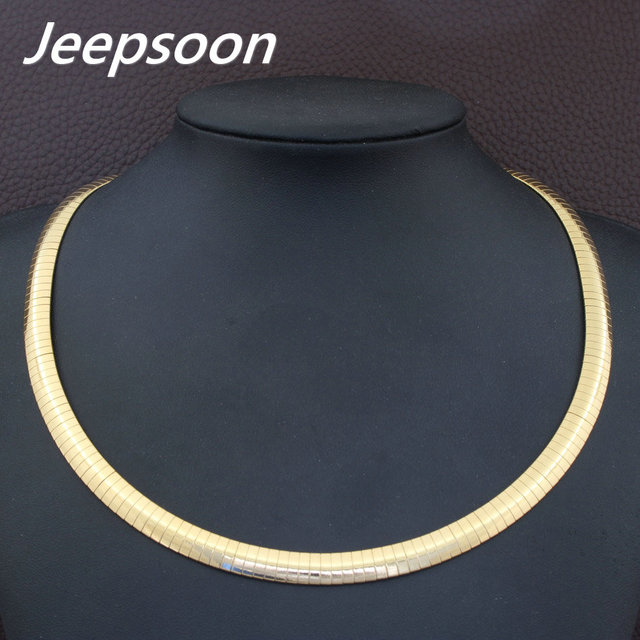 8mm HOT Accessories Wholesale Stainless Steel Jewelry Fashion Romantic Plated gold color Torques Necklaces for women NBJDBUJP