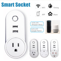 KINCO US UK EU 2 USB Smart Wifi Socket AC 125V 10A APP Remote Control Smart