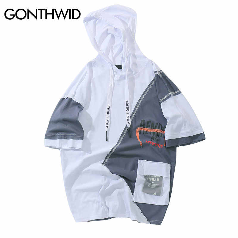 GONTHWID Farbe Block Patchwork Front Tasche Pullover Hoodies Sommer Hip Hop Casual Kurzarm Mit Kapuze Sweatshirts Streetwear