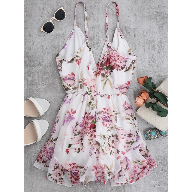 ZAFUL Summer Holiday Floral Print Women Romper Jumpsuit Sexy Flower Chiffon Cami Strap Beach Romper Playsuit Overalls 2019 New 1