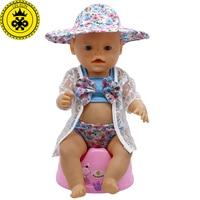 Muñeca ropa Bikini traje de baño lindo + chaqueta Sunhat Fit 43 cm Zapf bebé  16 c8bc461a356