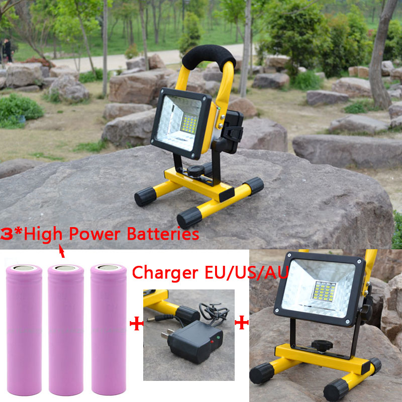 Rechargeable LED Floodlight Portable Spotlight Outdoor work site Camping Light 24led & 3* Super Powerful 18650 Battery & charger