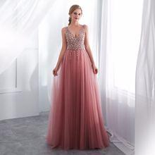 Женское вечернее платье с v образным вырезом и блестками длинное