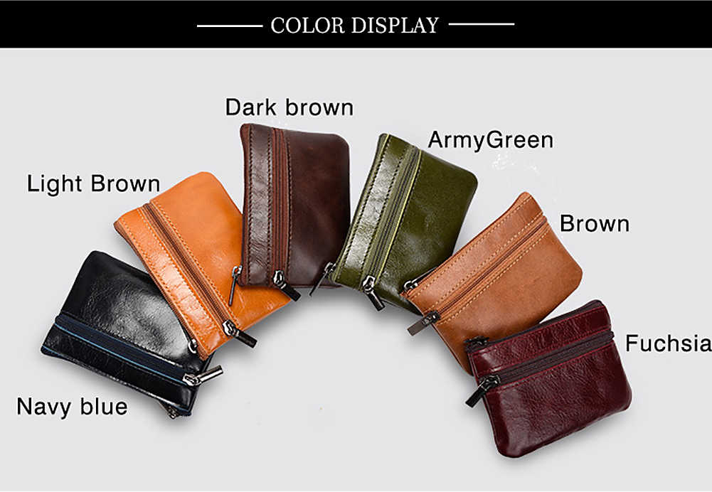 c5ad7acefd5 ... Genuine Leather Coin Purse Women Mini Zipper Money Bag Pouch Unisex Key  Ring Small Wallet Ladies