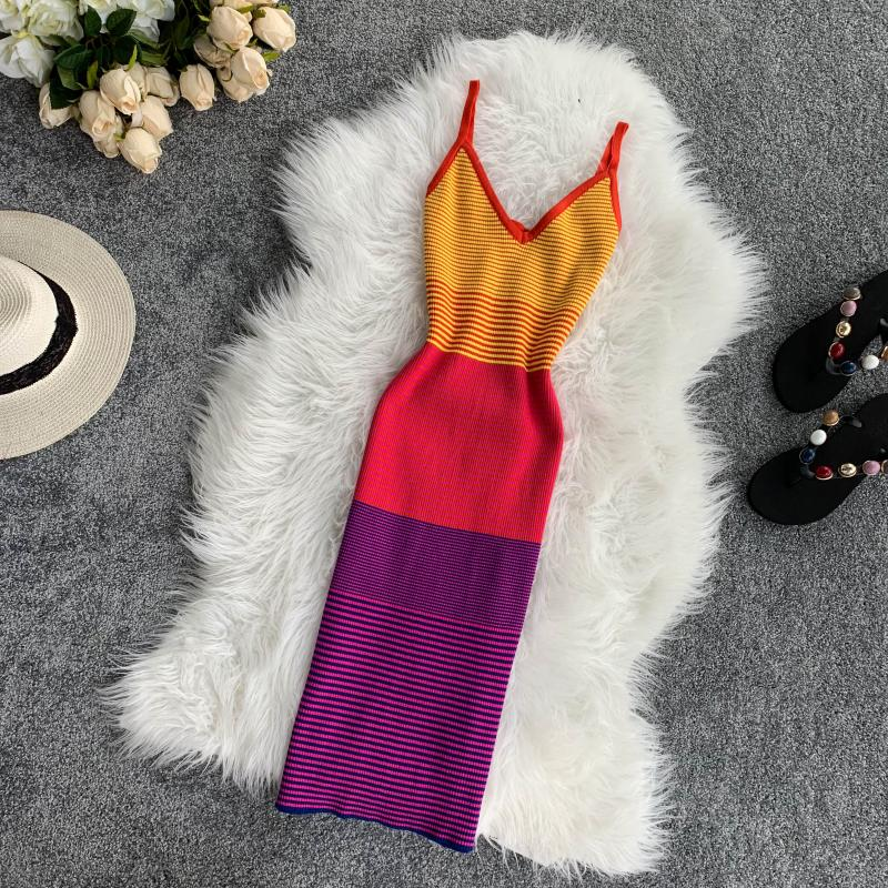 Rainbow Striped Colorful V-collar Sleeveless Knit Dress