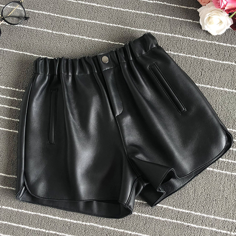 Elastic-Waist Shorts Real-Leather Wide-Leg Women's High-Quality Chic A606