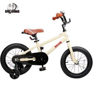 12 14 16 Inch Kids Bike Totem DIY Beige Steel Kids Bike DIY Sticker Kids Bicycle with Detachable Training Wheels and Bell(China)