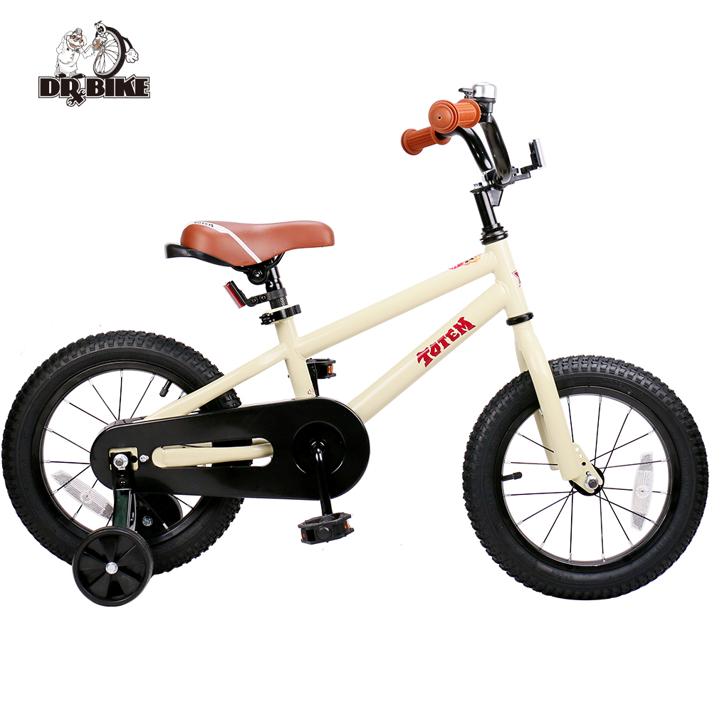 Dr Bike 14 Inch Totem DIY Beige Steel Kids Bike DIY Sticker Kids Bicycle with Detachable Training Wheels and Bell children s bicycle kids balance bike ride on toys for kids four wheels child bicycle carbon steel bike for children 1 2 years