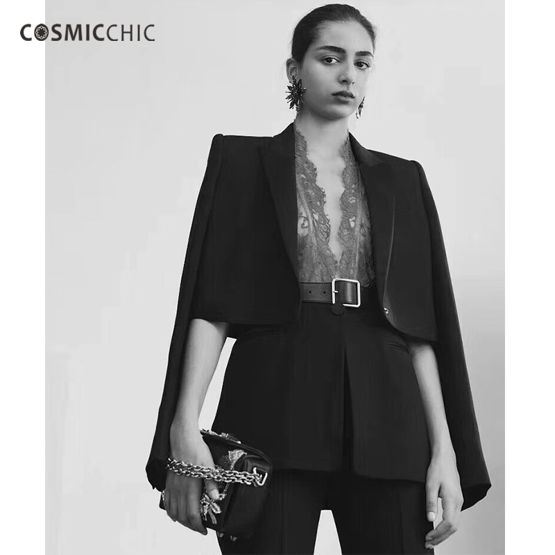 Cosmicchic Haute Couture Women Black Blazer Lace Vest Self cultivation Fashion Casual Suit Blazer Feminino LY128