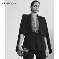 Cosmicchic Haute Couture женский, черный блейзер и топ с кружевом самосовершенствование Модный повседневный костюм Блейзер Feminino ly128