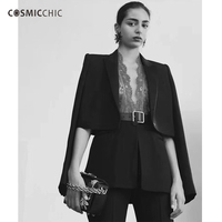 Cosmicchic Haute Couture Women Black Blazer & Lace Vest Self cultivation Fashion Casual Suit Blazer Feminino LY128